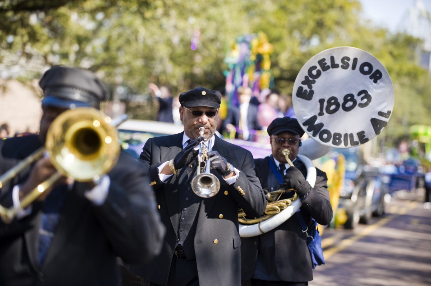The Excelsior Band plays in a Mardi Gras parade in Mobile.