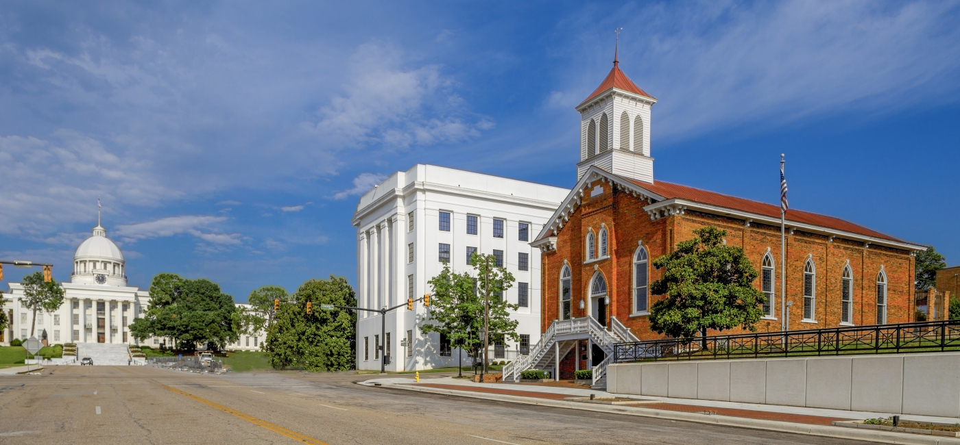 Martin Luther King, Jr. preached at Dexter Avenue Baptist Church, just steps from the state capitol and the site of the end of the famous Selma to Montgomery march.