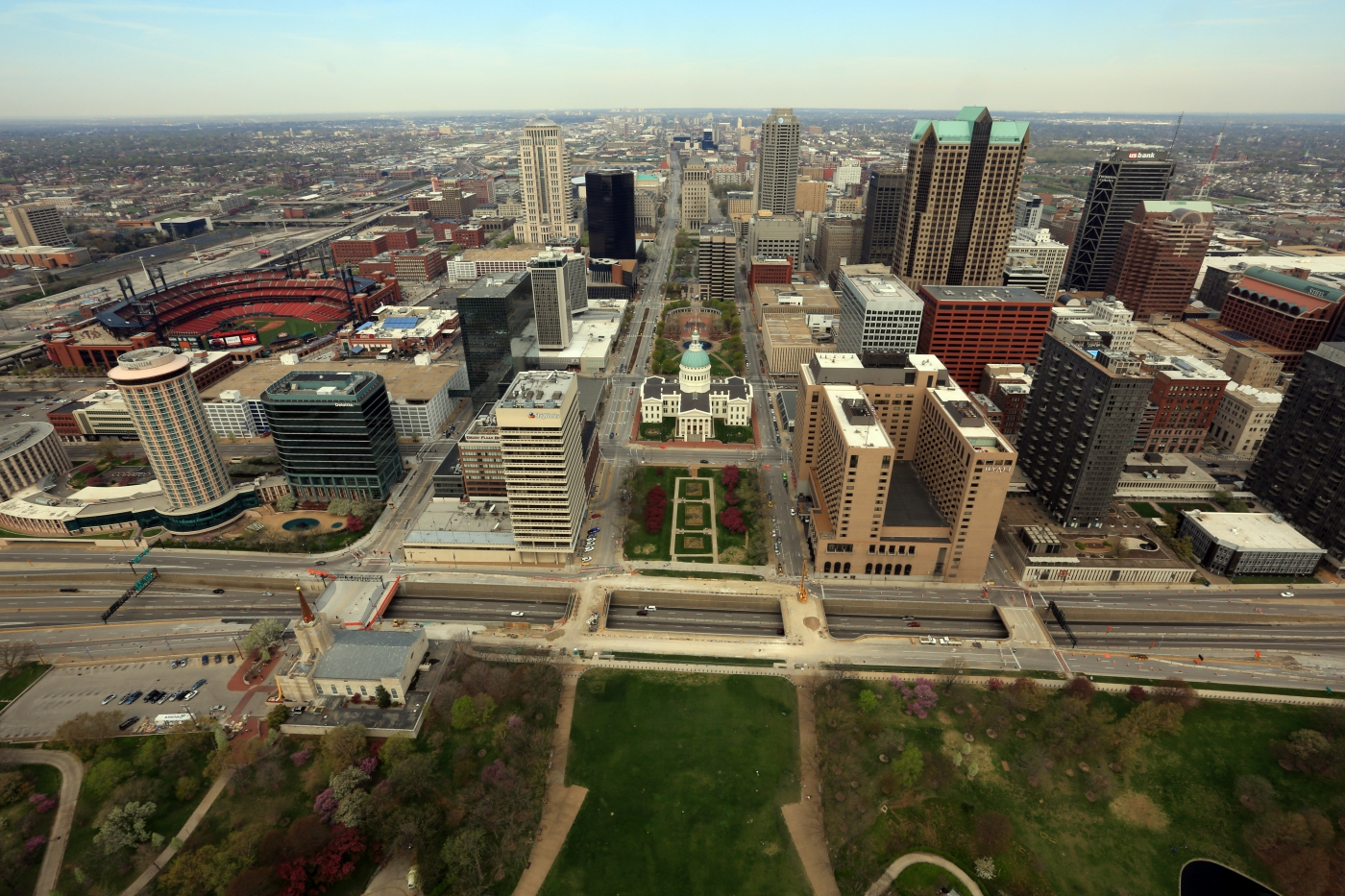 View of downtown from the top of the Gateway Arch.