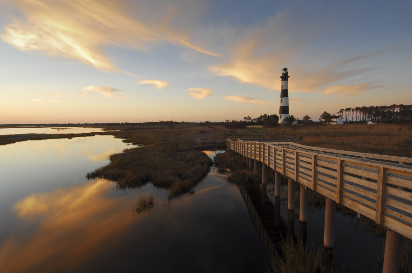 The Bodie Island Lighthouse is one of seven that once guarded North Carolina's shoreline and now draw visitors for incredible views.