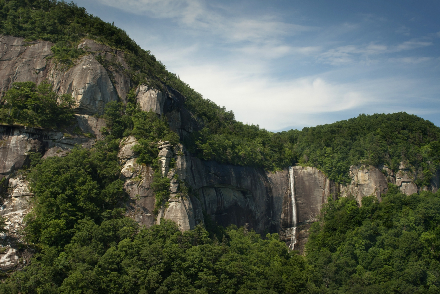 Hickory Nut Falls, located in Chimney Rock State Park, is one of the tallest waterfalls in the East.