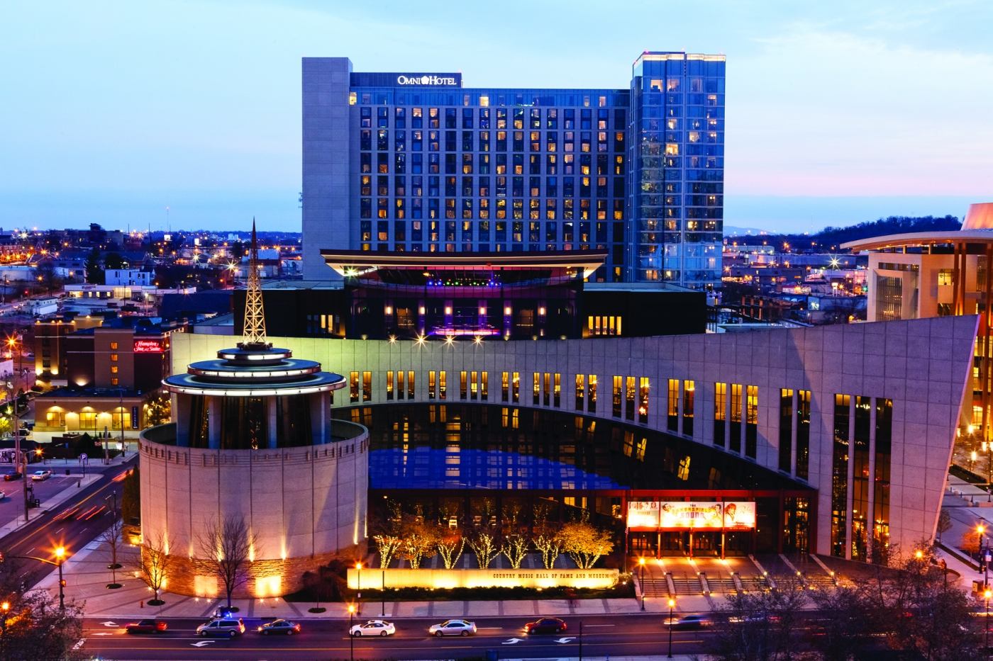The incredible Country Music Hall of Fame and Omni Hotel.