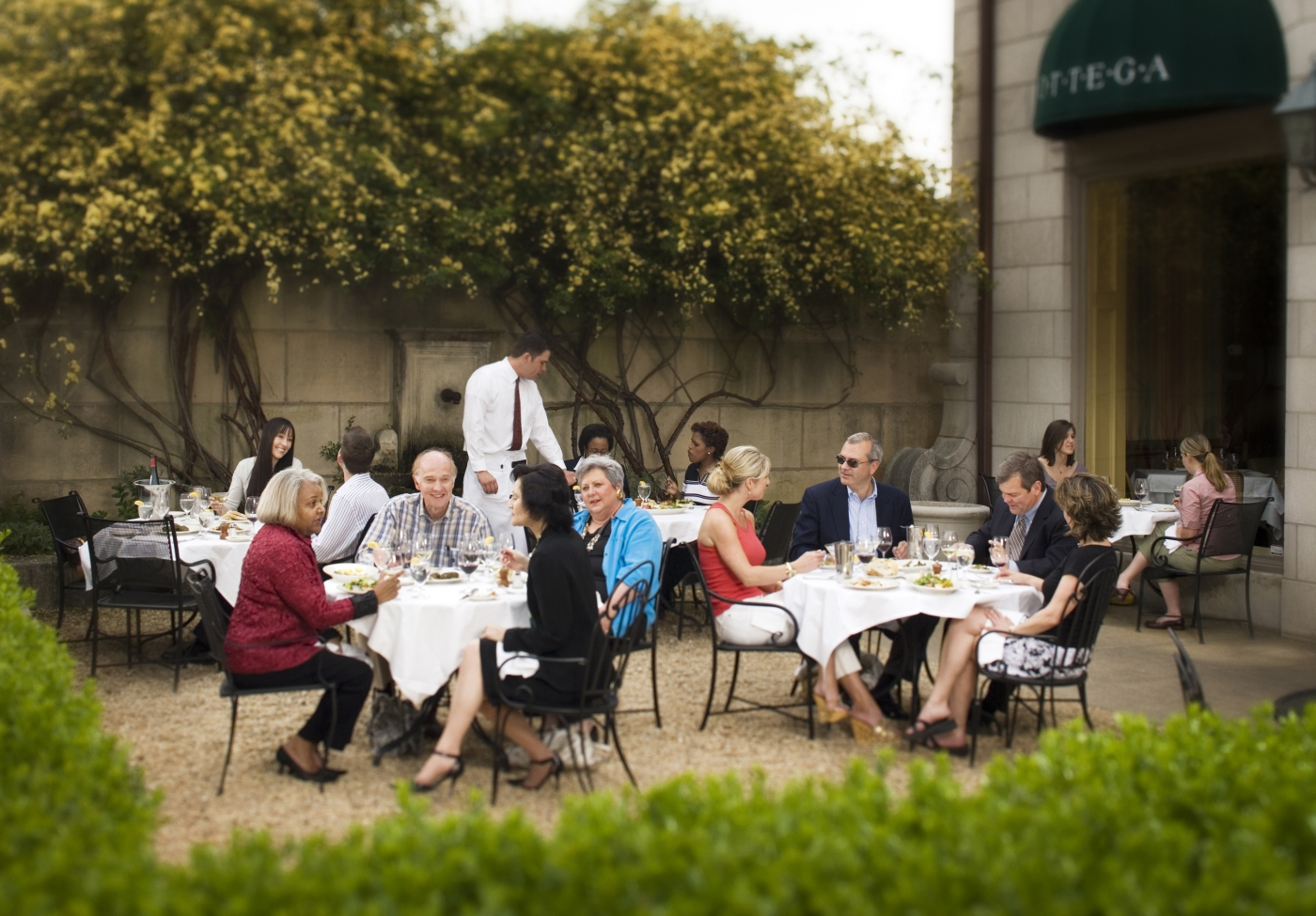 Among the popular dining locations is the courtyard at Bottega's.