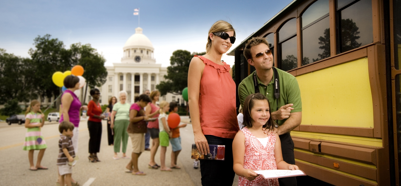 Tourists can ride a trolley that routes by the city's museums, restaurants and downtown hotels.