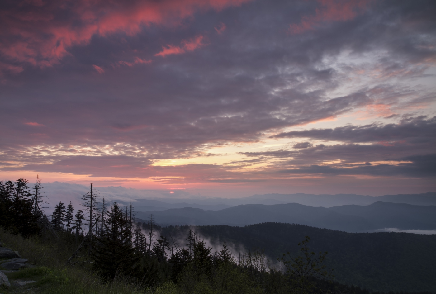 A ride through North Carolina's mountains can feature breathtaking sunrises and sunsets.