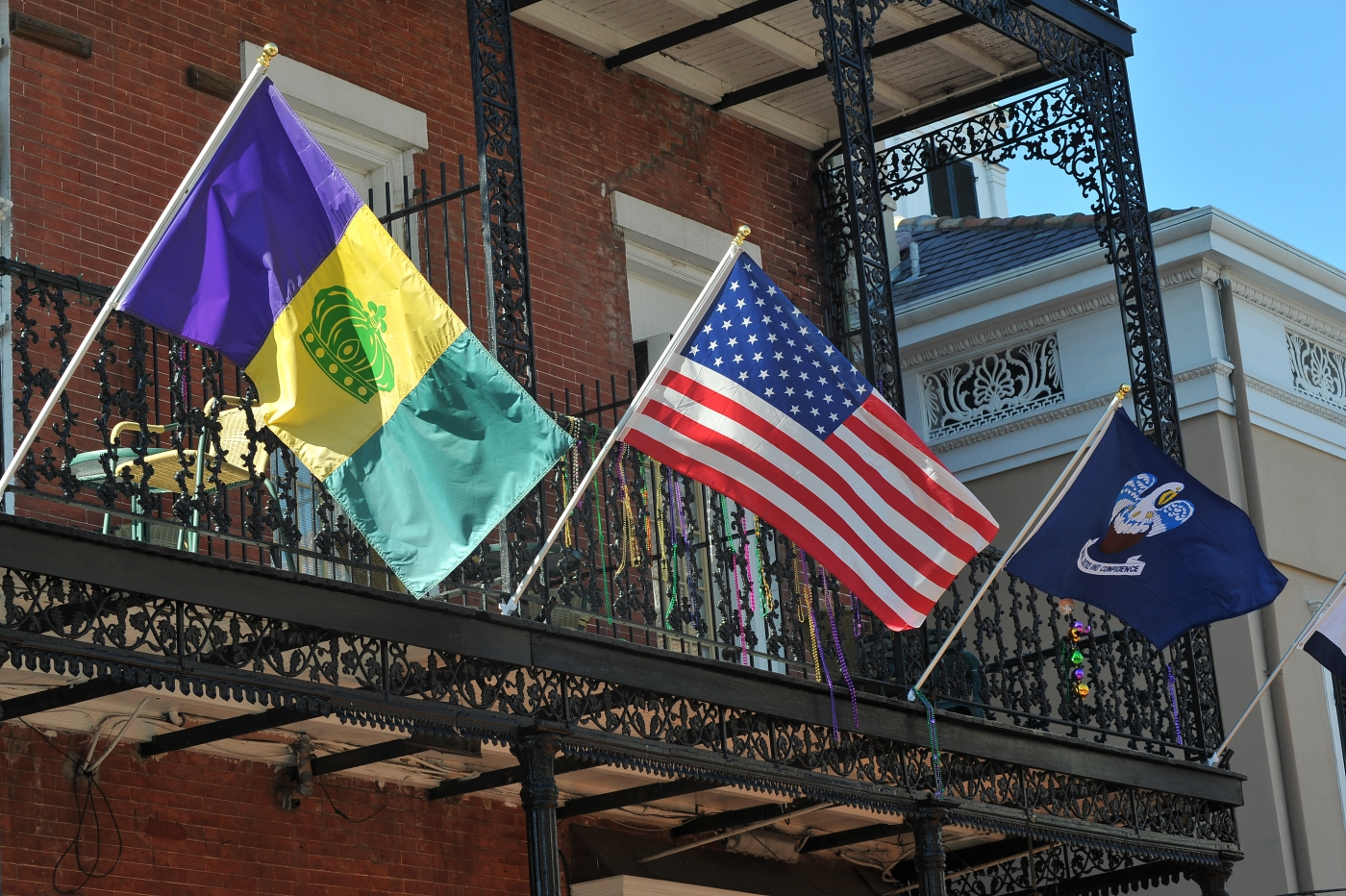 Flags blowing in the breeze in the French Quarter.