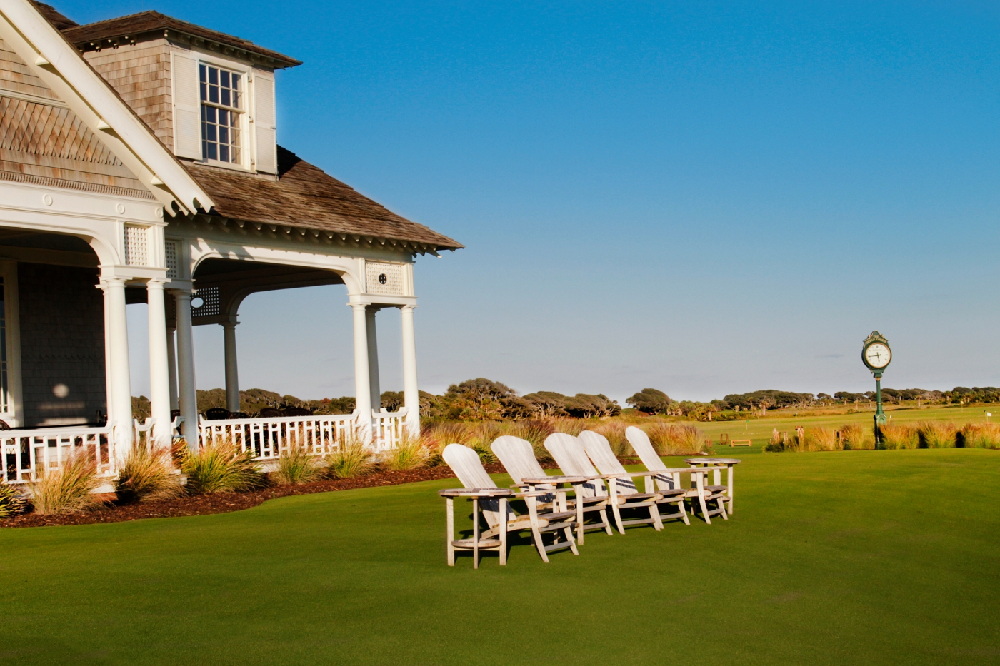 Kick back and enjoy the scenic view from the Ocean Course clubhouse on Kiawah Island.
