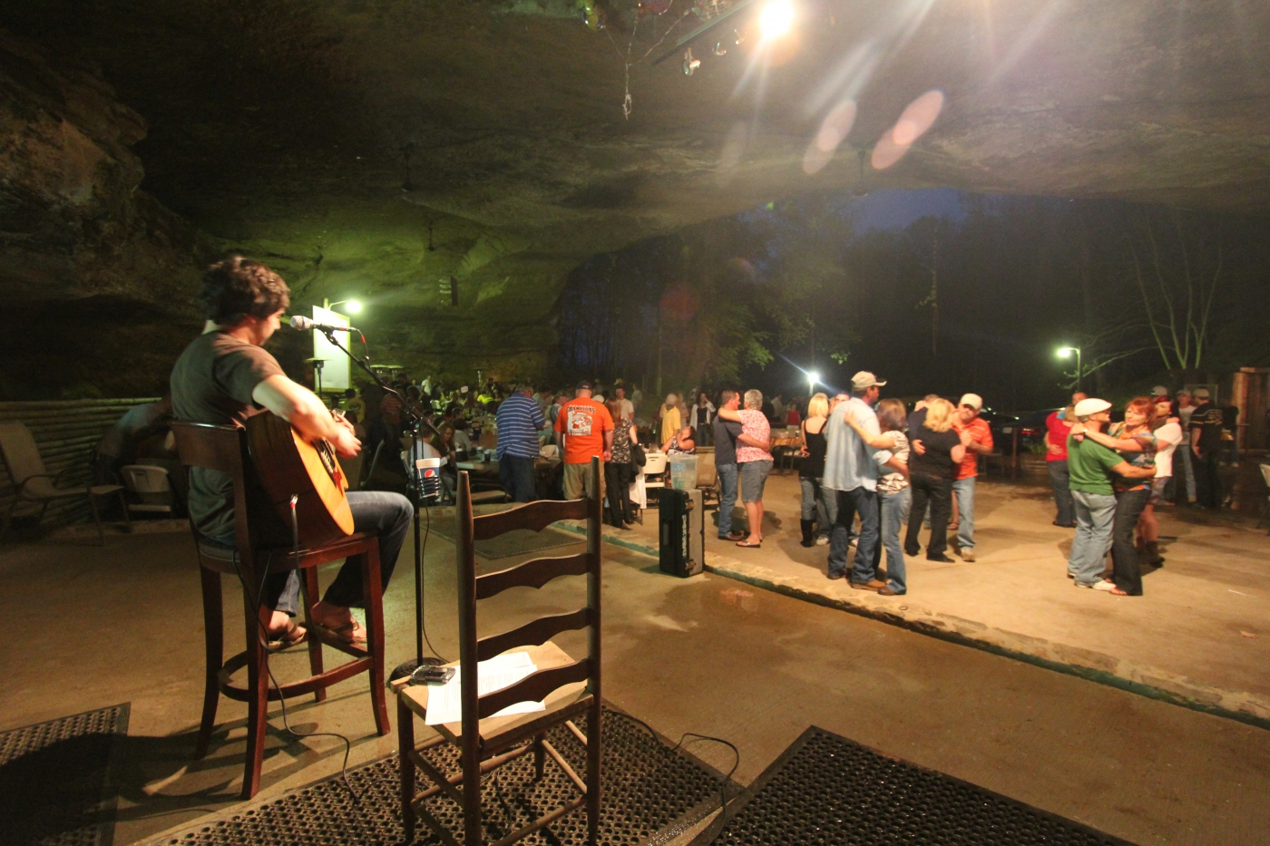 One of the South's most unusual and fun places to dance to live music is the Rattlesnake Saloon, located in a shallow cave in Tuscumbia.