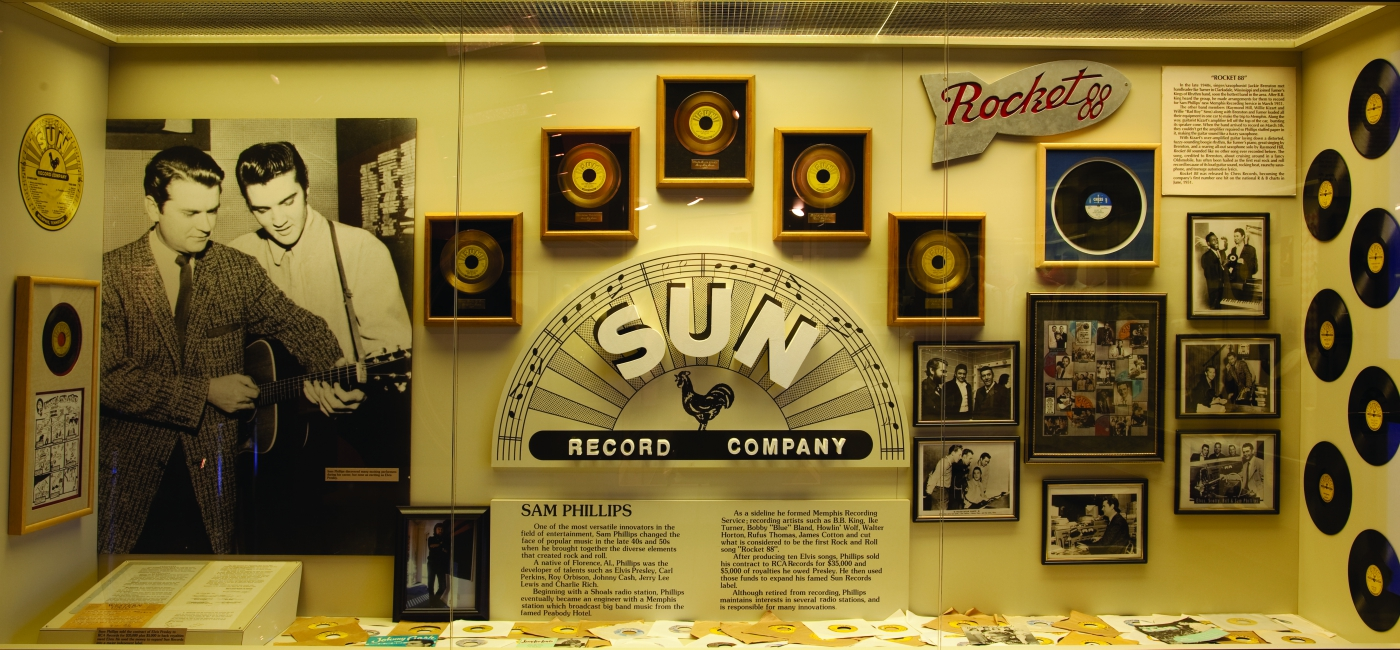 See the exhibit to Sam Phillips, record producer and owner of Sun Records at the Alabama Music Hall of Fame.